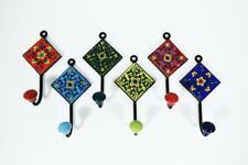 Ceramic Hooks Multicoloured Hand painted Bathroom Hooks Decorative Set Of 20