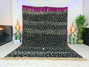 """Moroccan Boujaad Handmade Vintage Rug 6'9""""x10'1"""" Berber Dotted Black Wool Carpet"""