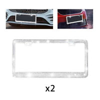 White Rhinestones SengX Bling License Plate Frame 2 Pack,Bedazzled Sparkly Stainless Steel Car License Plate Frames,Over 1000 pcs Bedazzled Clear Glass Diamond Rhinestone Crystals with Gift Box