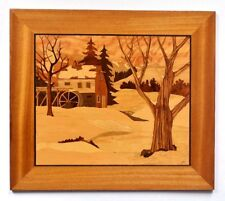 A Vintage Signed Marquetry  Winter Landscape Panel By Josef Wrobel