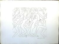 Dancing Nude I, Knox Martin Signed, Vintage Lithograph Embossed, Etching Print