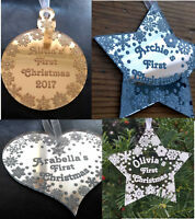 Acrylic mirror First Christmas personalised bauble decoration tree ornament star