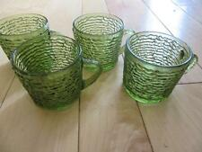 VTG ANCHOR HOCKING SORENO FOUR SMALL COFFEE CUPS BUMPY AVOCADO GREEN 4 oz NICE