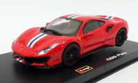 Burago 1/43 Scale Model Car 18-36910 - Ferrari 488 Pista - Red With stripe