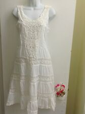 BELLA MODA Women's Embroidered/Lace spring/summer cotton sundress/White. New.M