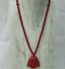 "26-36"" 108 Red Stone Beads W/Cinnabar Buddha Pendant Necklace Handmade"