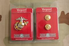 Usmc Marine Corps Gold Badge & Chin Strap Button Set For Officer Combination Cap