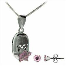 925 Silver Pink CZ Baby Shoe Pendant and Stud Earrings Set