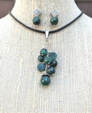 Natural Gemstone Malachite Cluster Pendant Necklace Earrings Chakra USA