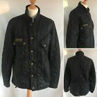 Barbour International Mens Coat Jacket Size M - Stylish Navy Blue Quilted Design