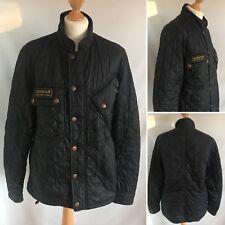 Barbour International Mens Coat Jacket Size M - Stylish Navy Blue Quilted Design
