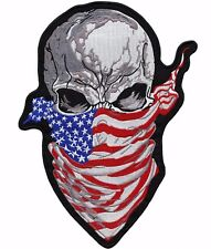 "11.5"" Skull Bandana American Flag Patch Large Motorcycle Military Jacket Iron On"