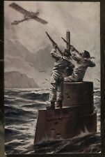 Mint WW1 Germany Picture Postcard Defenses A English Plane By Crew Of Submarine