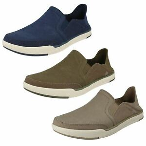 Mens Cloud Steppers by Clarks Canvas Slip On Shoes 'Step Isle Row'