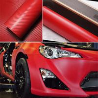 "1 pcs 40 ""x16"" RED 3D Twill-Weave Carbon Fiber Vinyl Film Wrap Sheet"
