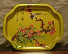"Vintage *BIRD on CHERRY BLOSSOM BRANCH* Serving Tray Made by ""Action"" Hong Kong"