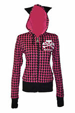 BNWT Death Kitty Pink/Black Dogtooth Cat Ears Hoodie Zip Top Goth/Emo/Kawaii M/L