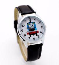 Thomas The Tank Engine Leather Strap Wristwatch Black Wrist Watch Round Kids