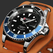 Military Royale Mechanical Mens Watch Date Black Dial Leather Strap Automatic