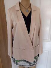 Asos Ivoire Blazer Jacket Taille 10 Oversize Soie Look