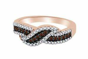 0.55Ct White & Brown Genuine Diamond Engagement Ring In 14K Rose Gold Over