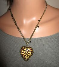 Betsey Johnson Auth. Leopard Heart Statement Necklace 3 Strands Antique Gold