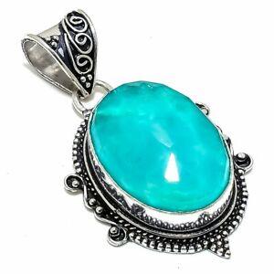 "Aquamarine Gemstone Handmade Ethnic Silver Jewelry Pendant 2.0"" PSL437"