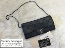 Authentic CHANEL Navy Blue Quilted Lambskin East West Classic Flap WOC Bag