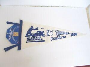 MLB NY Yankees vs. Phillies  1950 Mitchell & Ness Logo Baseball Pennant MADE USA