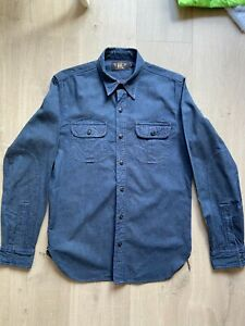 RRL (Double R L) Cotton Shirt, Size Small. Navy, Vintage Details. Ralph Lauren