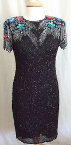 Awesome Swee Lo floral beaded short sleeve cocktail evening dress 80's vintage M