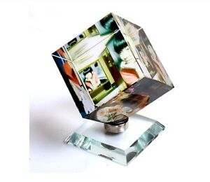 Lager Personalized Custom Crystal Glass Photo Rotating Cube AcrylicFrame updated