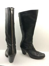 Born BOC Womens 7.5 M Black Leather Knee High Boot Heel Exposed Zipper Round Toe