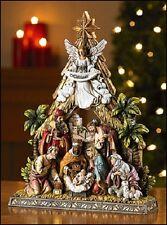 RC806 Nativity Resin Bethlehem Scene Holy Family Kings Angel Shepherd 10 1/2 in
