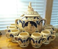 Vintage Stoneware Gerz German Tureen Punch Bowl 10 Piece Set  Excel. Condition