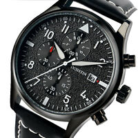 Men Pilot Date Luminous Quartz Chronograph Leather Band Sport Wrist Watch Analog
