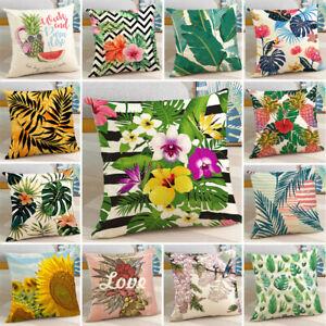 18'' Tropic Green Plants Sofa Pillow Case Polyester Cushion Cover Home Decor