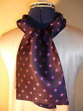100% woven silk men's cravat/scarf  Purple stars on navy blue NEW