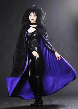 Halloween Gotico Lungo Nero Mantello foderato in velluto viola