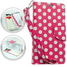 PU Wallet Pouch White Dotted Cover Case w/Strap For LG Optimus L70 MS323 Phone