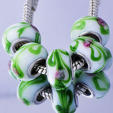 5pcs Silver Plated Murano Glass Lampwork Floating Charm Beads Fit Charm Bracelet