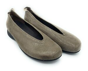 WOLKY BALLET FLATS SLIP ON SHOES LOAFERS BROWN SNAKE TEXTURE SIZE 39  US 7