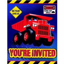 Construction Birthday Party Invitation, Dump Truck Hard Hat Detour Invite 8pk