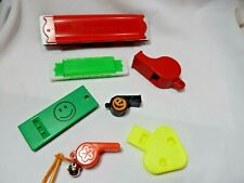 Vintage Plastic Toy's Whistles & Harmonicas lot of Seven made in Hong Kong