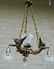 Top French spelter bronze putti angels 3 arm chandelier lamp tulip glass shade