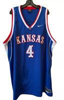 Nike Team Elite 4XL Kansas Jayhawks #4 Blue Basketball Jersey Top