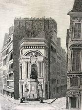 Paris Fontaine Molière estampe de 1856