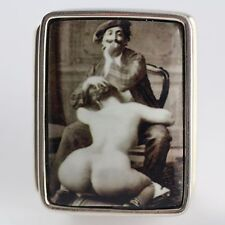 ENAMEL VICTORIAN STYLE EROTIC ARTIST PILL BOX  925 STERLING SILVER HALLMARKED
