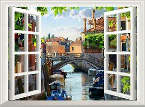 Venice Wall Decal 3D Window Sticker Nature View Poster Vinyl Mural Art Wallpaper