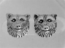 Wolf Head Post Earrings .925 Sterling Silver Studs